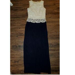 Scott McClintock Ivory Lace Blue Dress Size 6